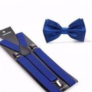 Kit de suspensório + borboleta Azul Marinho Adulto