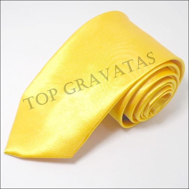 Gravata Amarela Lisa com Brilho