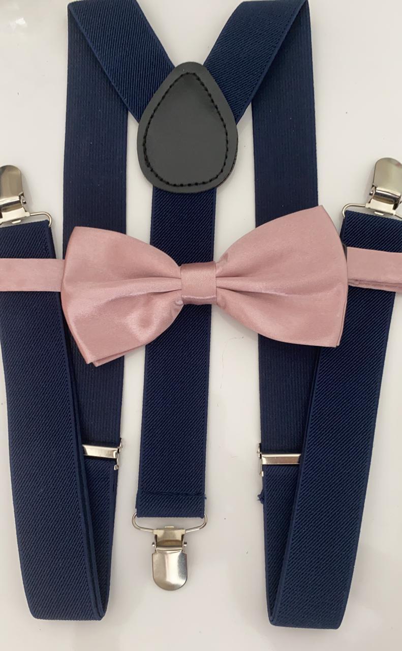 Kit de Suspensório azul marinho e Gravata Borboleta rosê  adulto
