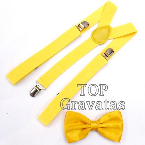 Kit de Suspensório e Gravata Borboleta Adulto Amarelo.