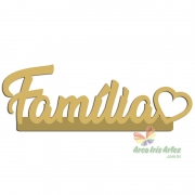 PALAVRA FAMILIA CORACAO 10X34CM C/BASE