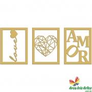 Quadro trio LOVE CORACAO AMOR 30x40cm cada quadro