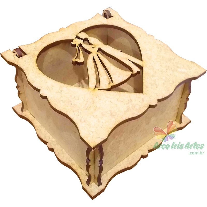 Caixa quadrada 08x08x05cm Noivos Coração