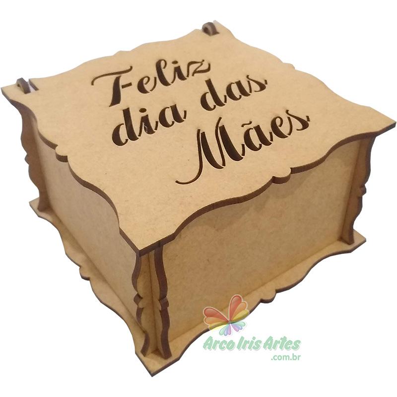 Caixa Quadrada 10X10X06 Feliz dia das Mães