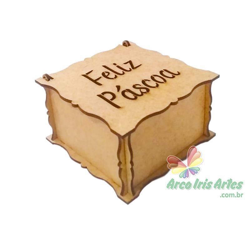 Caixa quadrada 10x10x06cm FELIZ PASCOA