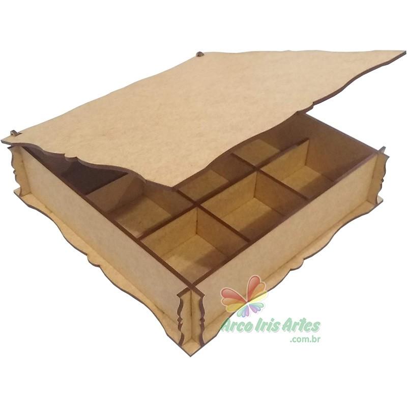 Caixa Quadrada 20x20x05 09 div. especiarias GIN