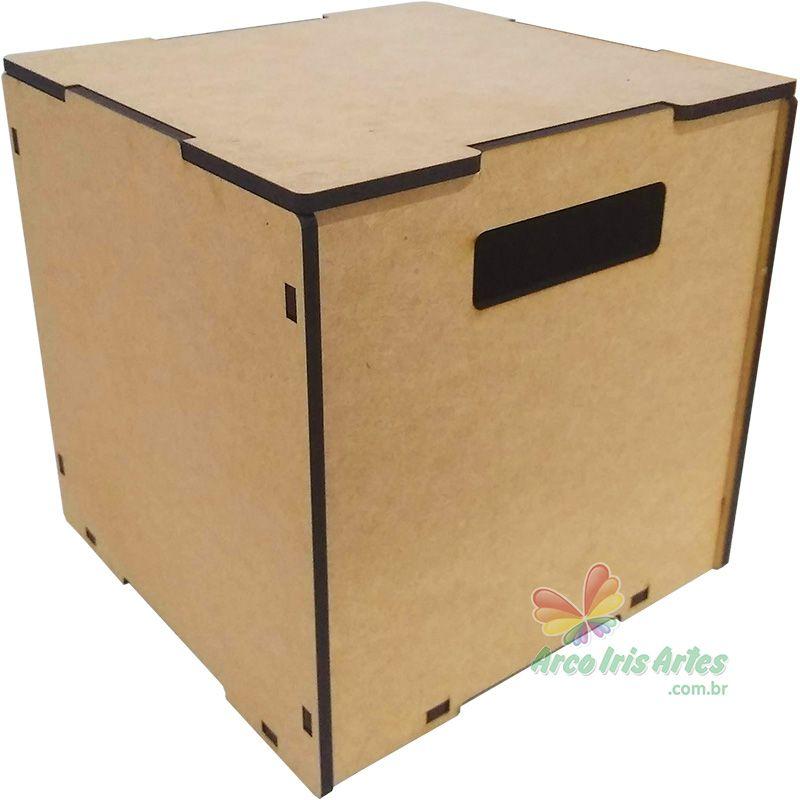 Caixa quadrada 25x25x25cm altura MDF 6mm
