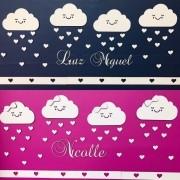 Kit Painel de Parede Nuvens Chuva de Amor Personalizado MDF BRANCO
