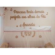 Kit Painel de Parede Princesa Linda Demais MDF BRANCO