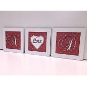 Trio de Quadros Iniciais Coração Love