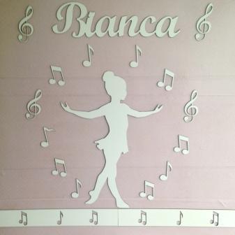 Kit Painel de Parede Menina Bailarina Música MDF BRANCO