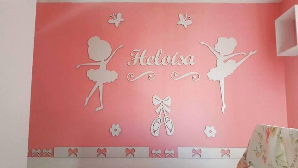 Kit Painel de Parede Meninas Bailarinas Personalizado MDF BRANCO