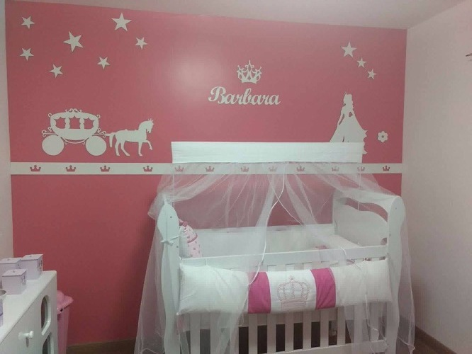 Kit Painel de Parede Princesa Carruagem Estrelas Personalizado MDF BRANCO