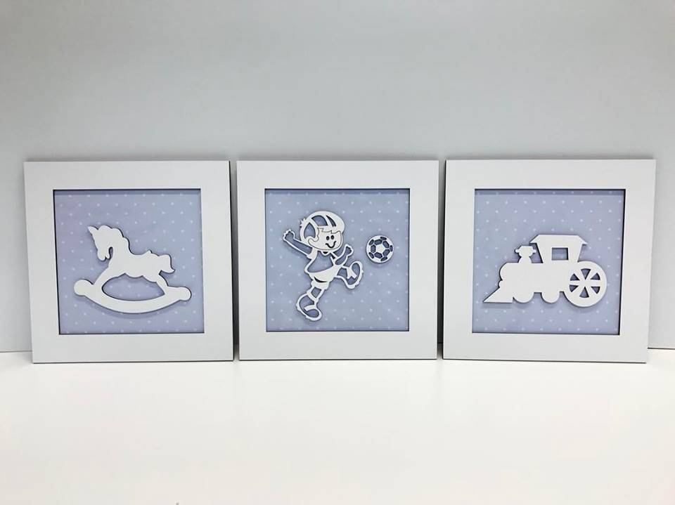 Trio de Quadros Brinquedos Cavalinho Trem