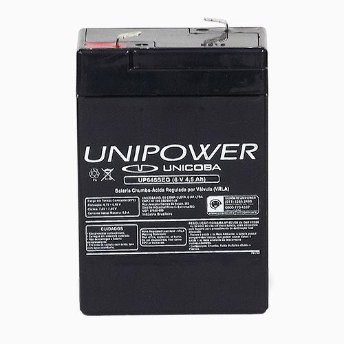 Bateria Selada UNIPOWER UP645 Seg  Central de Alarme Elevadores Iluminação de Emergência 6V 4,5Ah