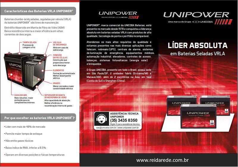 Bateria Selada UNIPOWER UP1270Seg Alarme CFTV Nobreak Equi. Médico 12V 7Ah F187