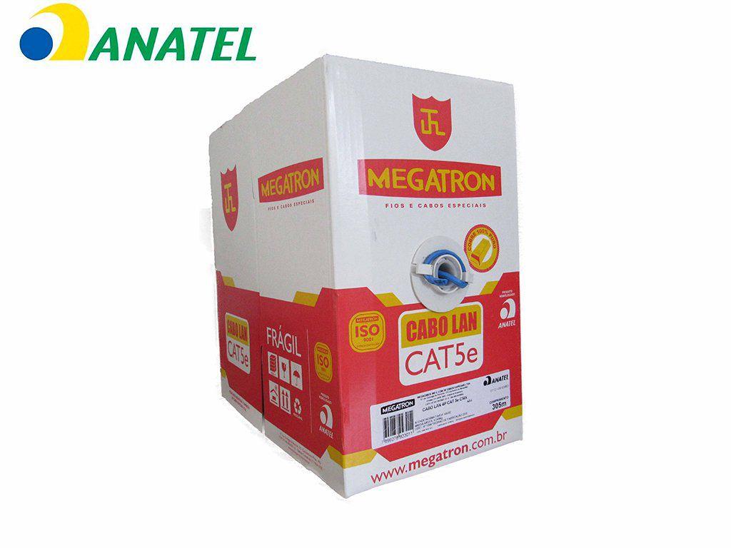 Cabo de Rede CAT5e 100% Cobre CX 305m Azul CMX  24AWG MEGATRON
