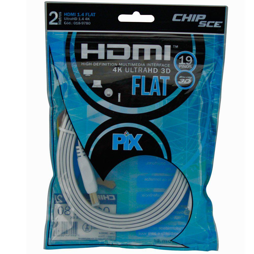 Cabo Hdmi Flat 1.4 4k Ultrahd 19 Pinos 2 Metros Branco PIX