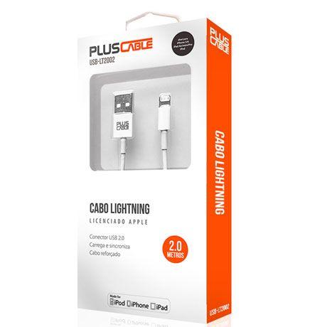 Cabo USB p/ Iphone 5 e 6 Homologado USB-LT2002WH PLUSCABLE