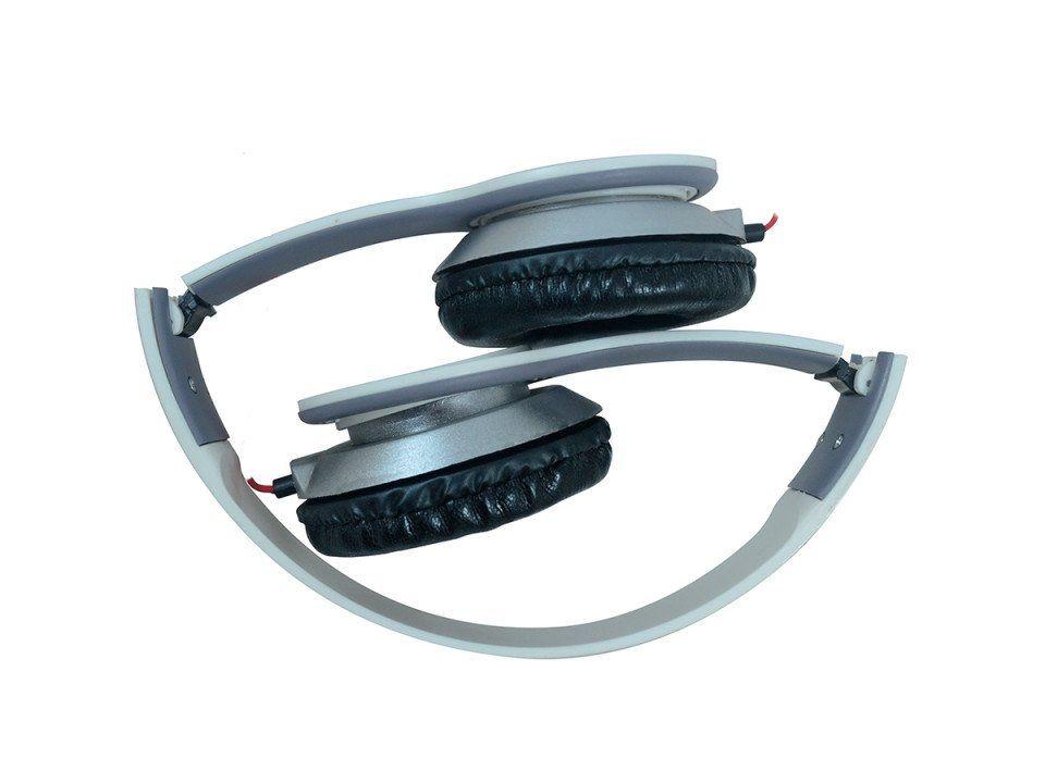 Fone de Ouvido Sound Bass Ergonomico Dobravel Branco Hardline St-401