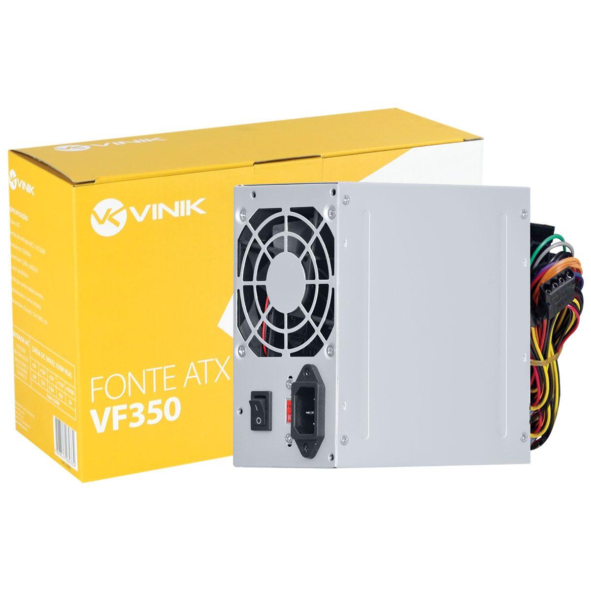 Fonte Atx 350W Real Bivolt 24 Pinos VF350 VINIK