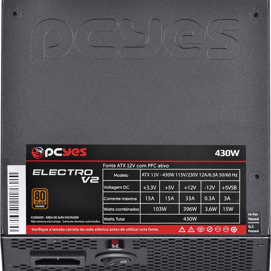 Fonte Gamer ATX 430W Series 80 Plus Bronze PCYes