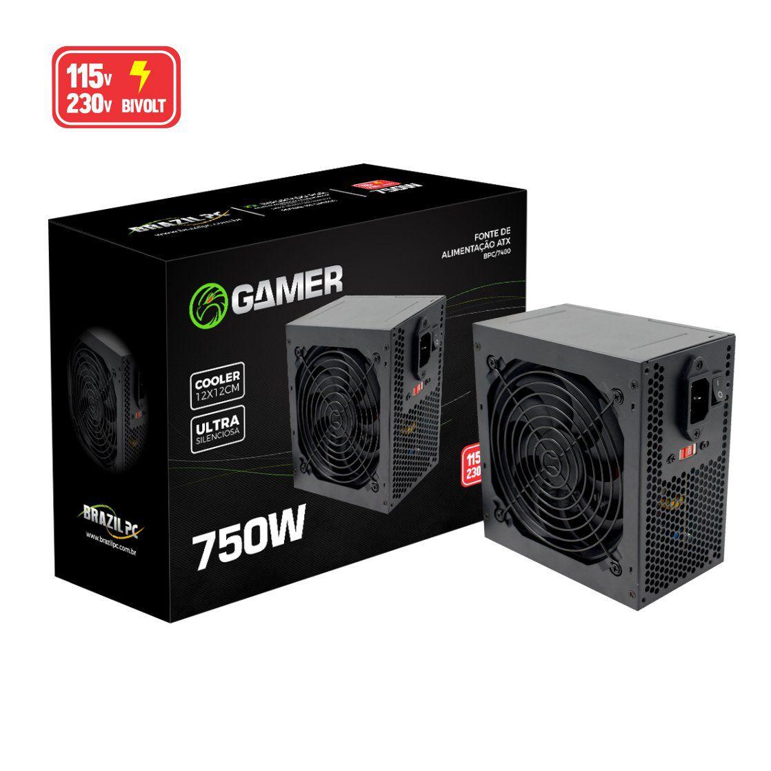 Fonte Gamer ATX 750W Real BPC/7400-B BOX