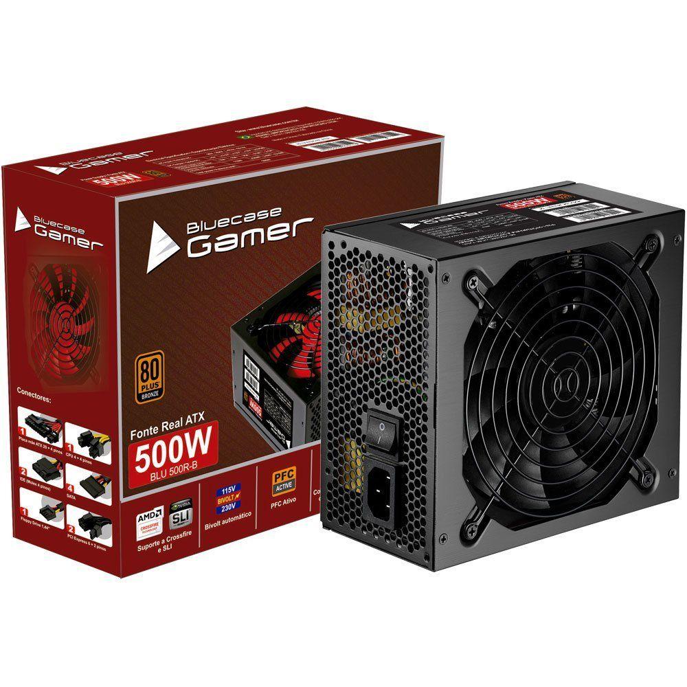 Fonte Gamer ATX 80 Plus Bronze 500W Real BLU500R-B Bluecase