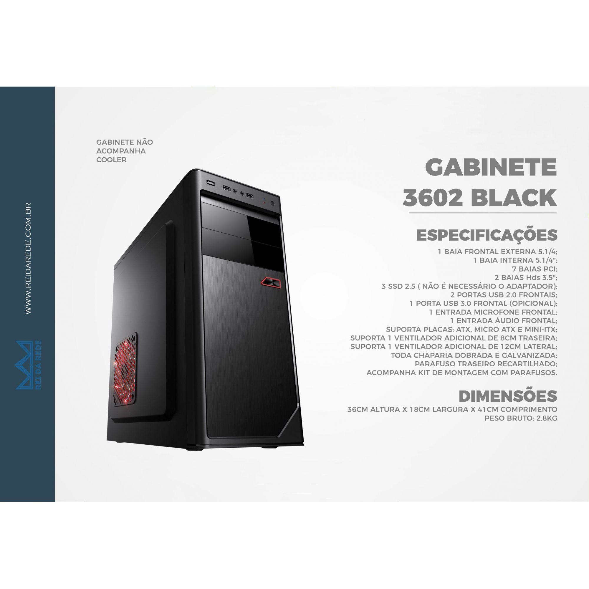 Gabinete ATX com Black sem Fonte 3602