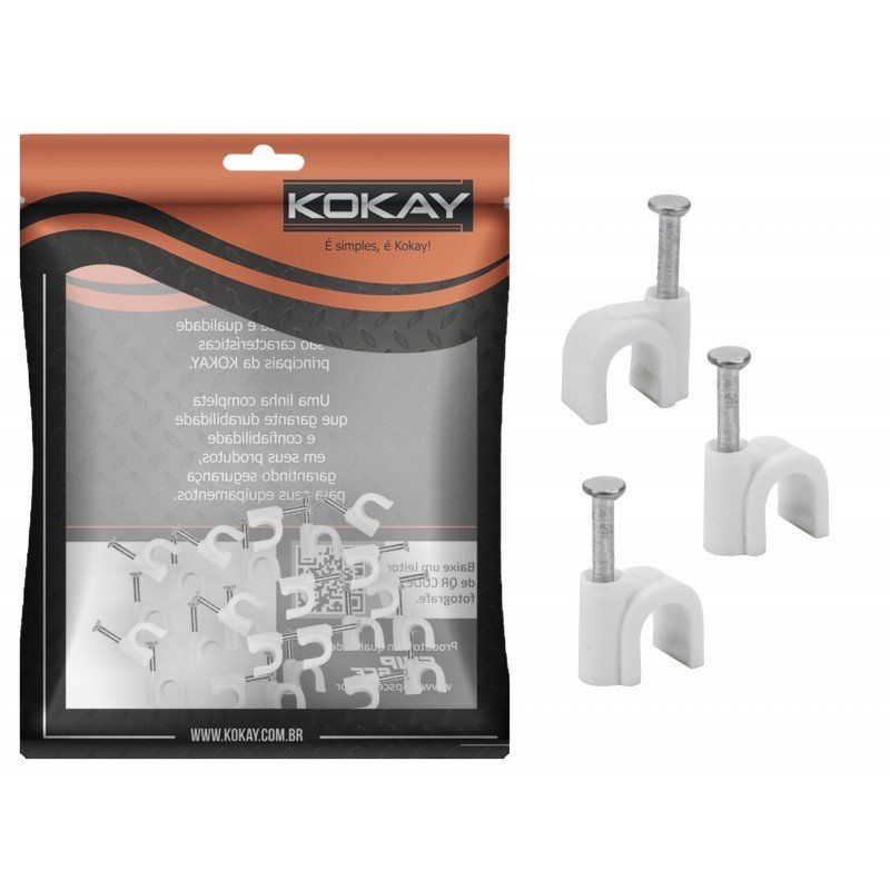 Grampo Fixador de Fio 6mm 25 unidades - Kokay