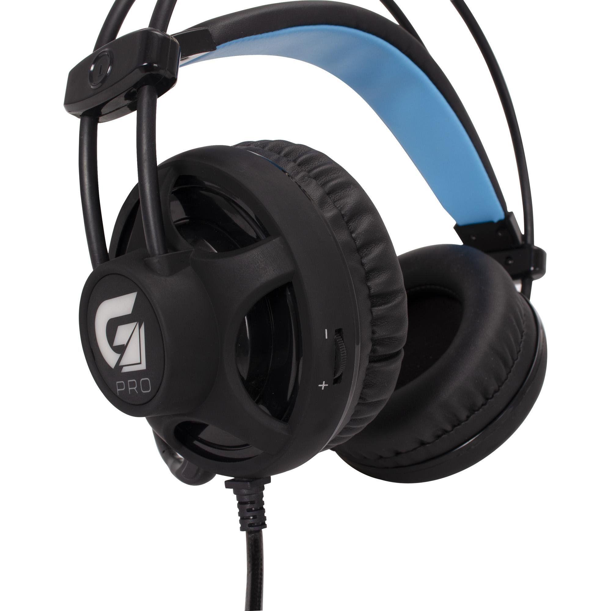 Headset Gamer Pro H2 com Led Azul Preto P2/USB  Fortrek