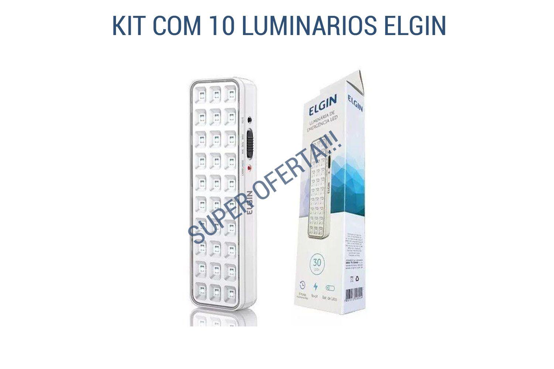 Kit 10 Luminária de Emergência Bivolt 30 Leds Elgin