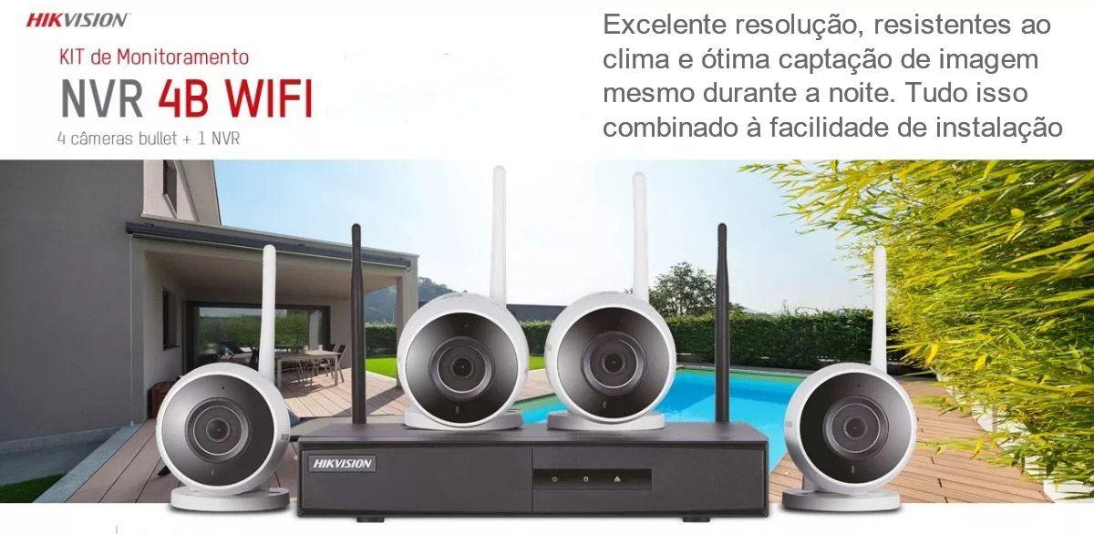 Kit Monitoramento sem Fio NVR 4B WIFI 04 Câmera IP NK4W1-1T-TB HIKVISION
