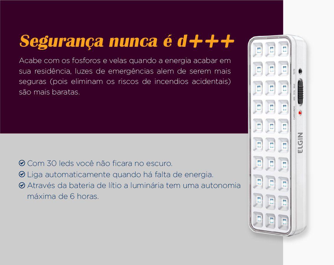 Luminária de Emergência Bivolt 30 Leds Elgin