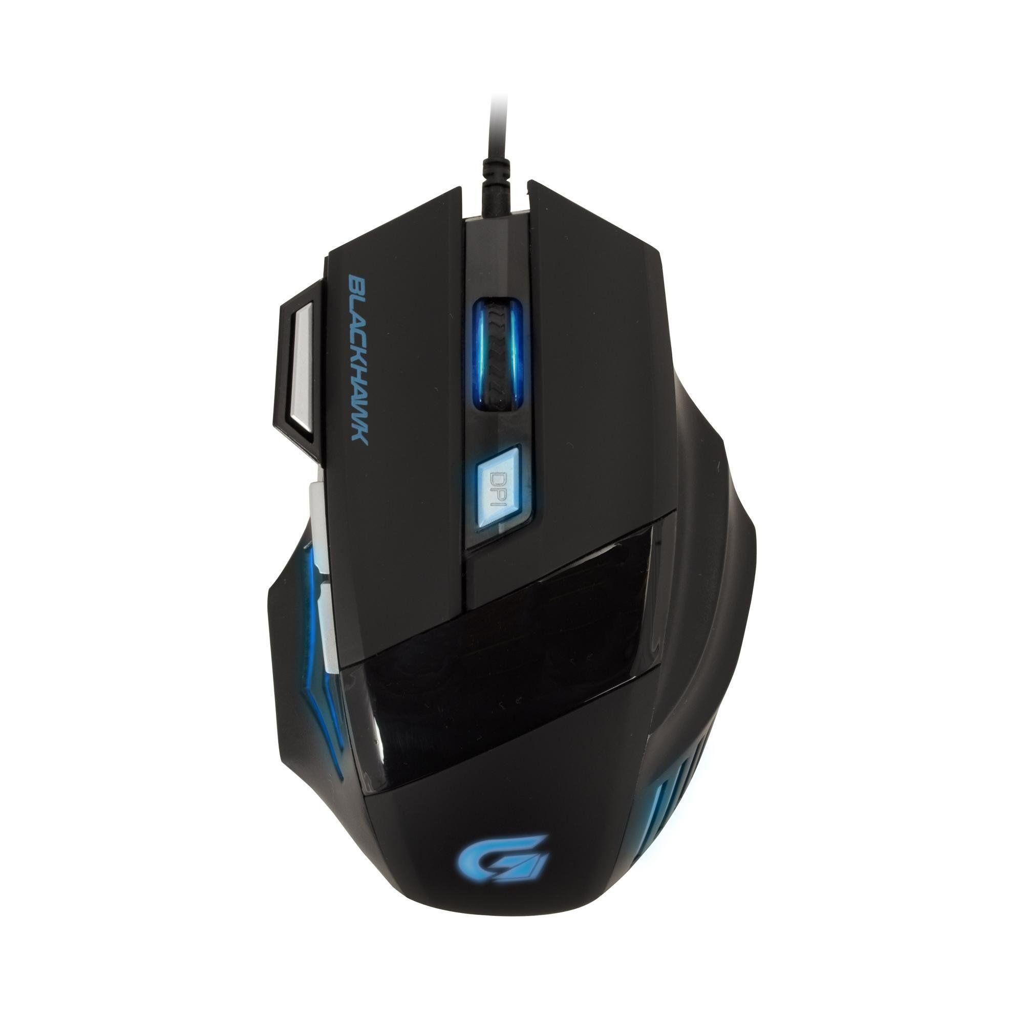 Mouse Gamer Black Hawk 2400dpi Preto/Azul Fortrek OM-703