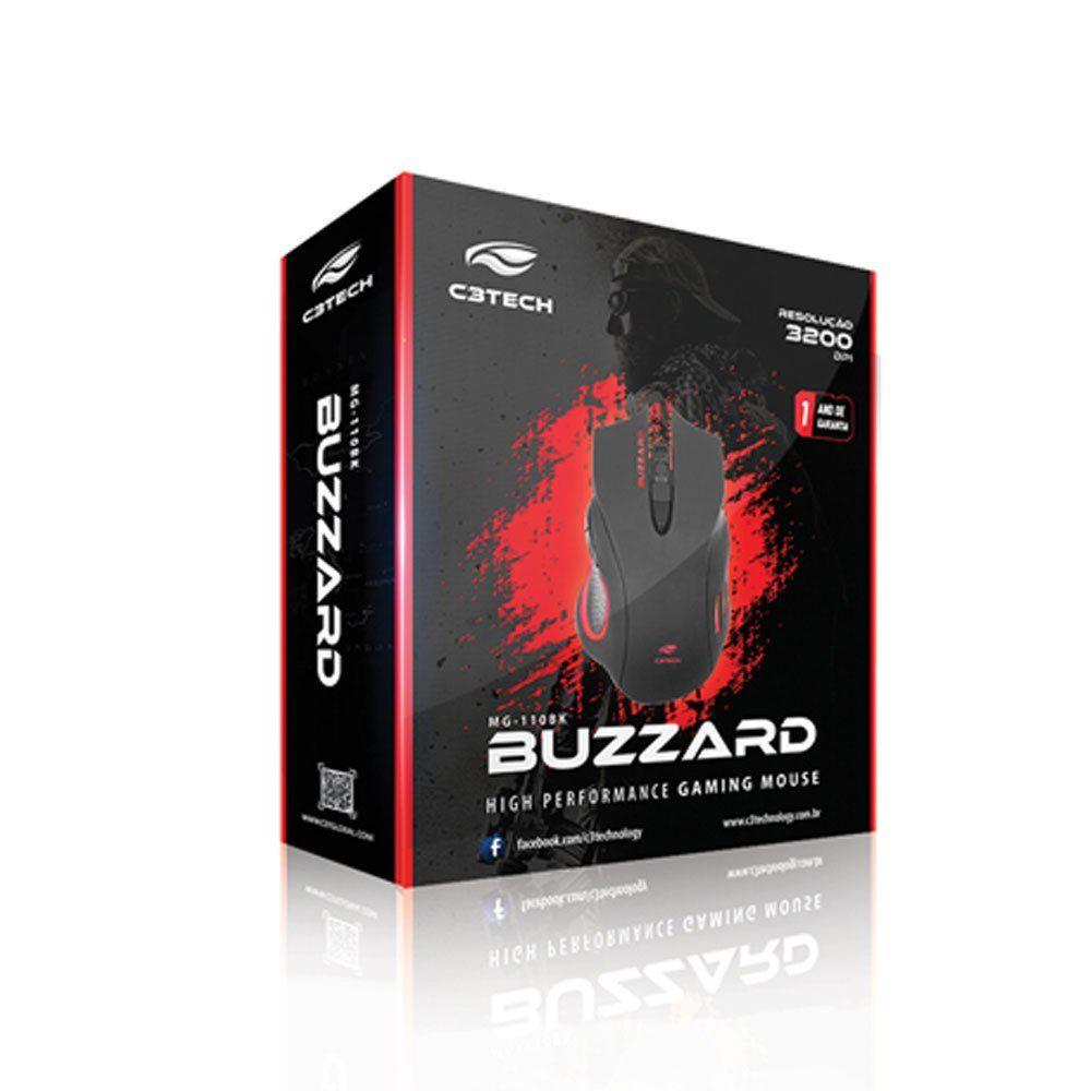 Mouse Gamer Buzzard 3200DPI com Iluminação Preto MG-110BK C3Tech