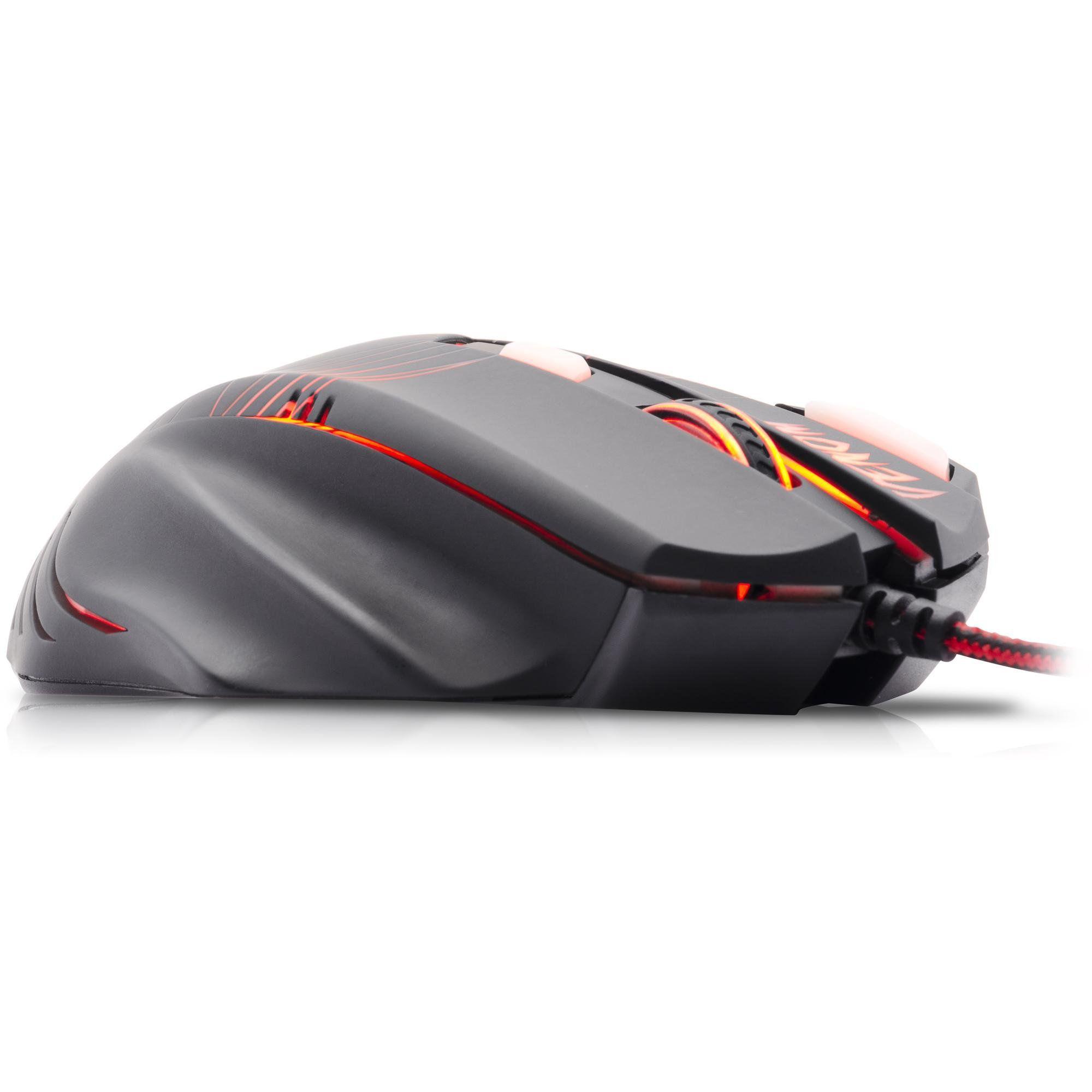 Mouse Gamer Spider Venom OM-704 Sensor Avago Preto/Vermelho FORTREK