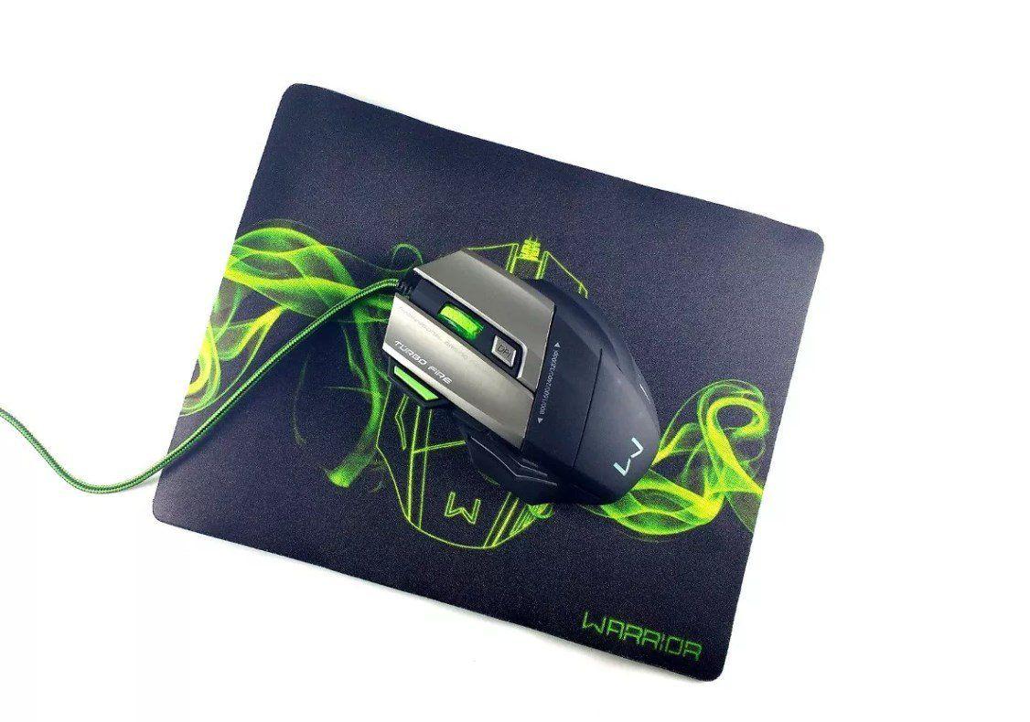 Mouse Gamer Warrior 3200dpi com Mousepad MO207 Multilaser