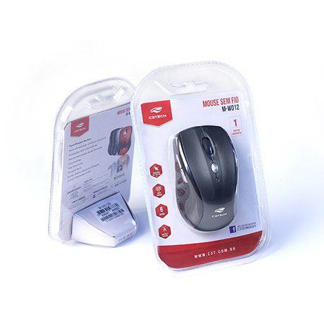Mouse sem Fio Receptor Nano M-W012 Preto C3TECH