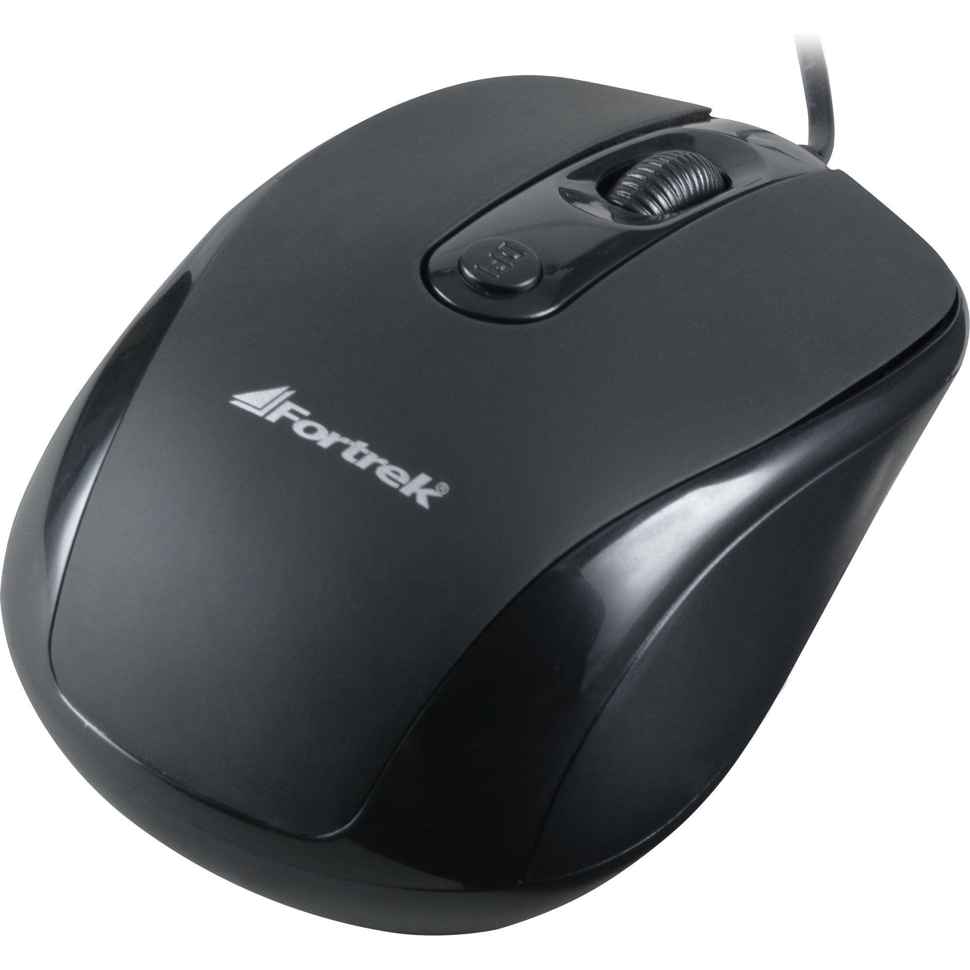 Mouse USB 1600DPI Preto Fortrek OM-103BK