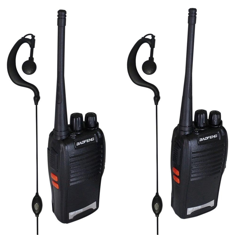 Radio Comunicador 2 Radios UHF/VHF com 2 Fones de Ouvido BF 777S