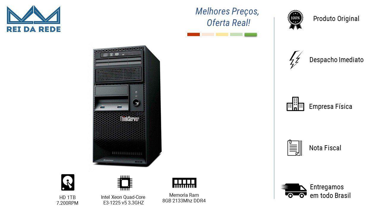 Servidor Lenovo TS150 Xeon E3-1225 V5 3.3Ghz 8Gb 1Tb 70LVA002B