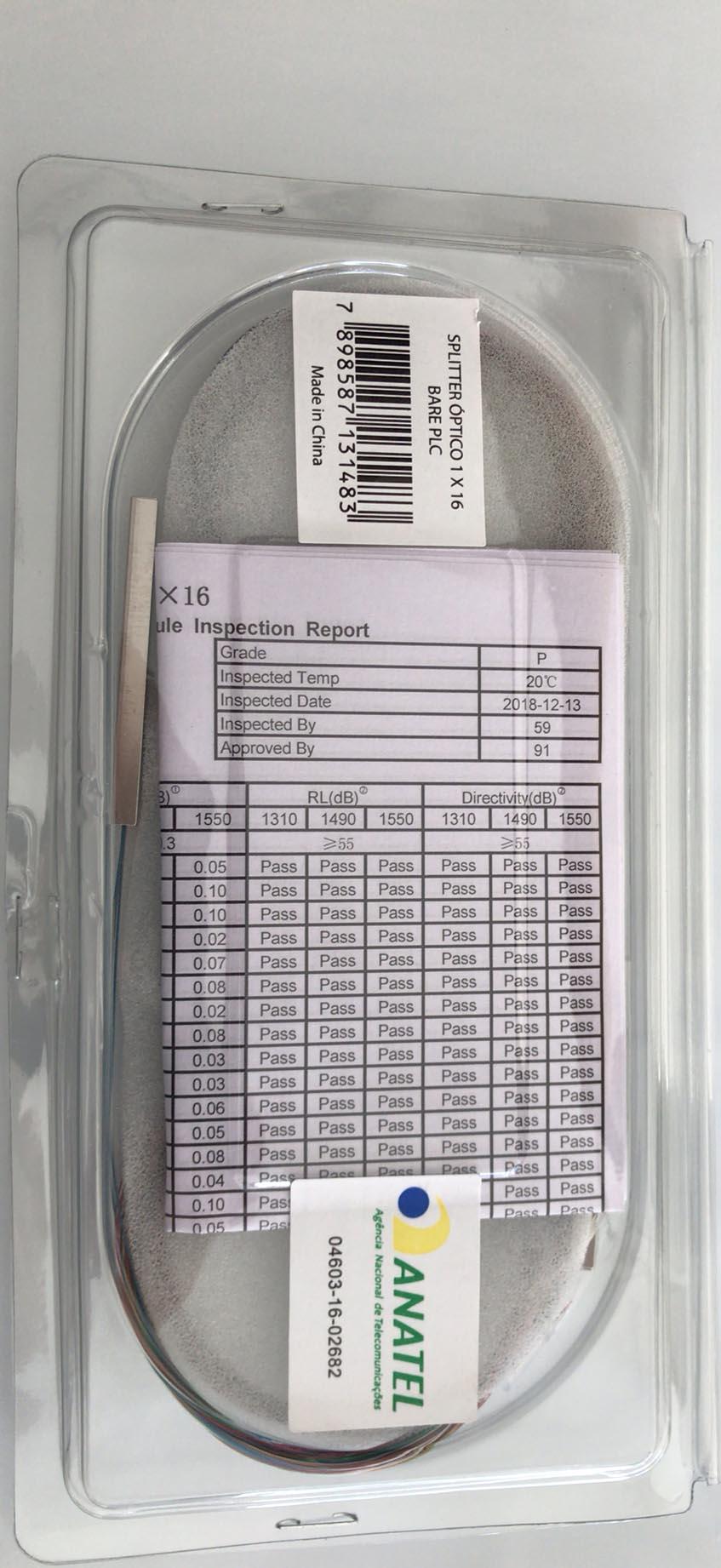 Splitter Óptico 1 X 16 Bare PLC Nazda