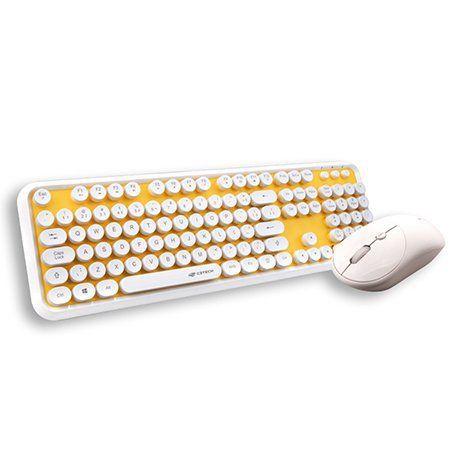Teclado e Mouse Sem Fio Anti-Respingos Amarelo/Branco C3Tech K-W200WYL