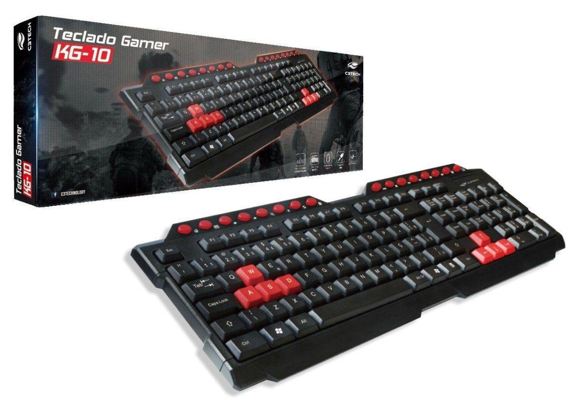 Teclado Usb Gamer Red Keys Multimidia C3tech Kg-10bk Preto
