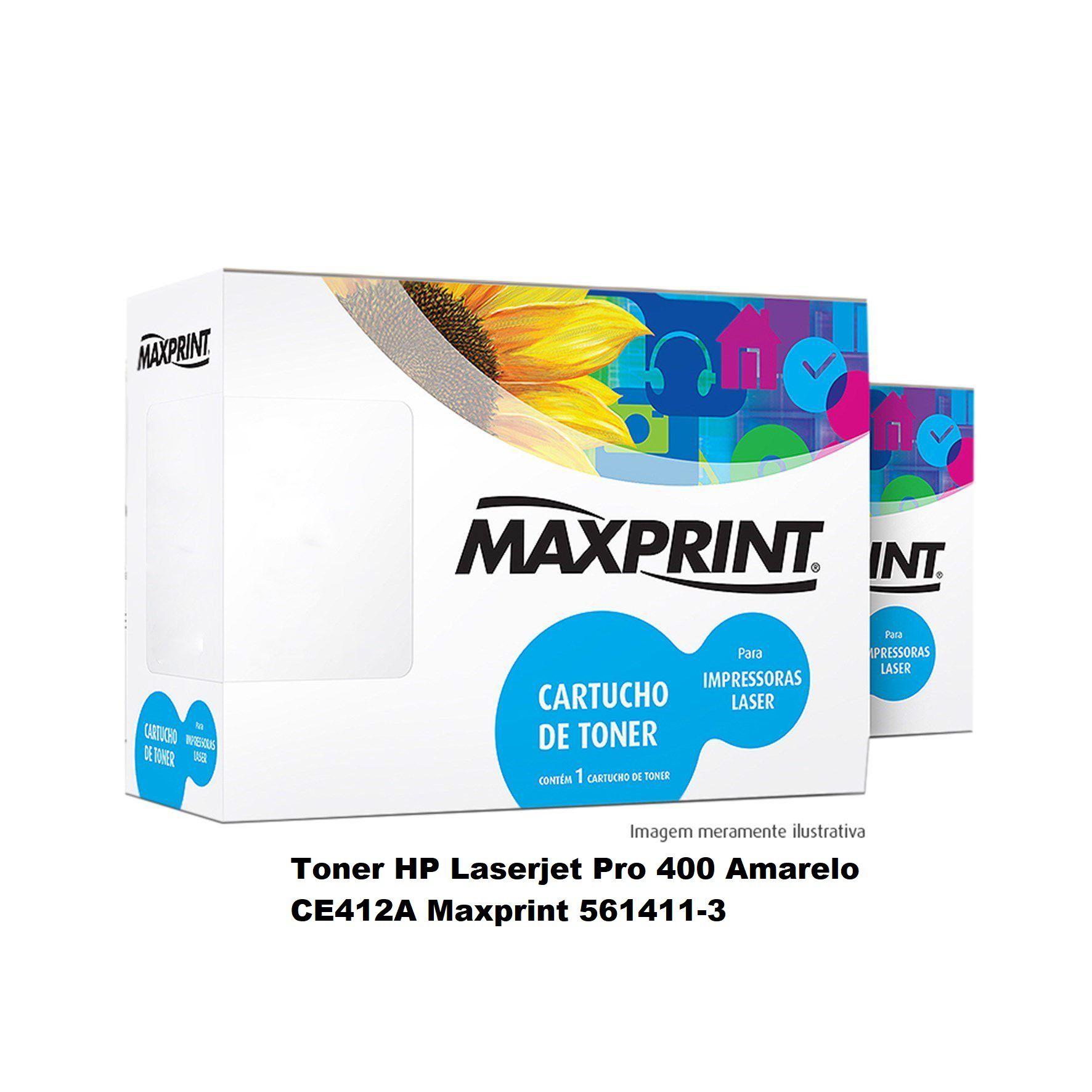 Toner HP Laserjet Pro 400 Amarelo CE412A Maxprint 561411-3