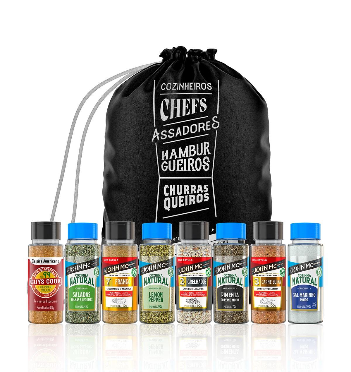 KIT BLACK super chef com 8 temperos + BAG exclusiva