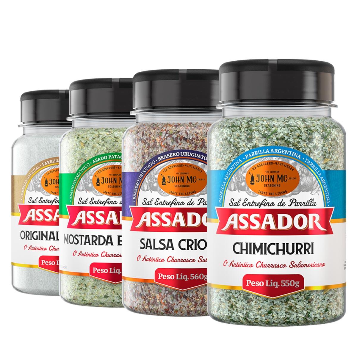 """Kit Linha Completa Sal de Parrilla """"ASSADOR"""" com 4 potes"""