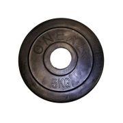 Anilha injetada vulcanizada 5kg aço olimpica preta oneal