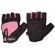 Luvas academia camurça musculação xpower preto rosa P #7